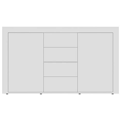 Cikonielf Aparador Buffet con 2 Puertas y 4 cajones, Mueble Auxiliar Cómoda para Comedor, Salón, Dormitorio, 120 x 36 x 69 cm, Blanco Brillante