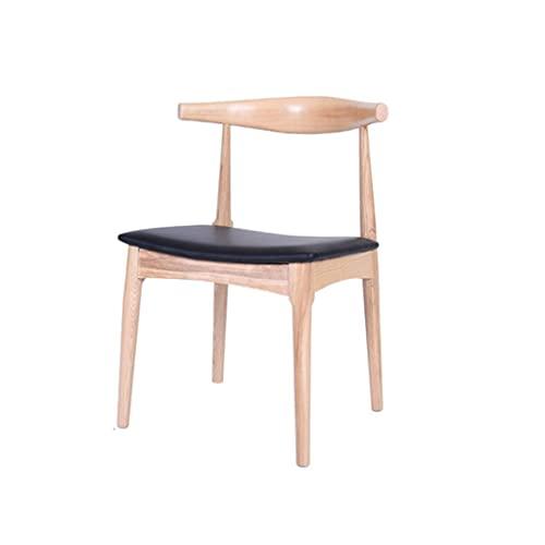 ZANZAN Silla de comedor con respaldo de madera maciza, asiento de poliuretano, cojín de decoración de salón, sillón para cocina/comedor (color de nogal color)