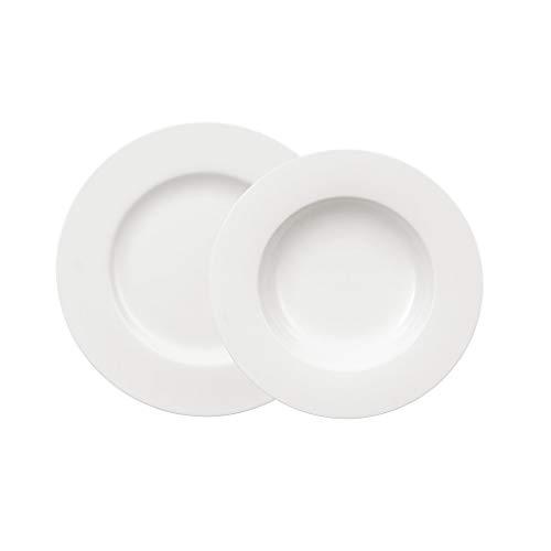 Villeroy & Boch - Royal Tafel-Set, 12 tlg., stilvoll servieren und genießen, Premium Porzellan, spülmaschinen-, mikrowellengeeignet, Weiß