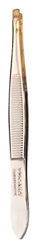 Titania, étroit Solingen Pince à épiler pointe droite plaqué or, 1er Pack (1 x 13 g)