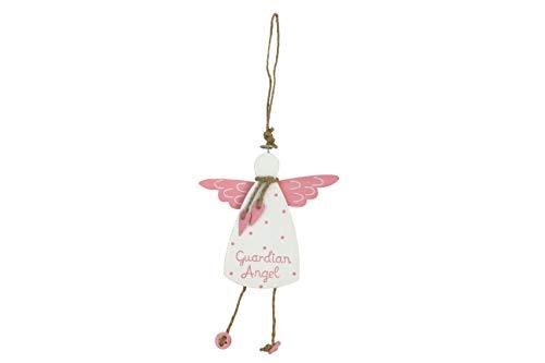 Gisela Graham Wooden Guardian Angel Hanging Decoration, Pink/White