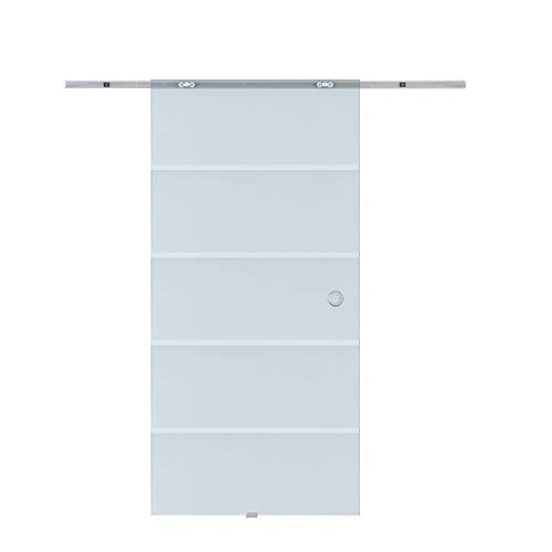 HOMCOM Glasschiebetür Schiebetür Glastür Zimmertür teilsatiniert 775/900 / 1025 x 2050 mm (Modell1/ 1025 x 2050 mm)