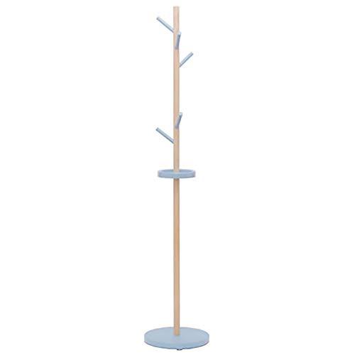 Estilo Moderno Madera Perchero De Pie Forma De Árbol con 5 Ganchos Fácil Montaje Perchero para Colgar Ropa Altura De 175cm Hogar para Sala De Estar Silla Oficina Vestíbulo Entrada-Azul. 35x35x175cm