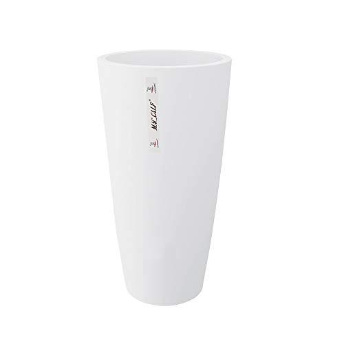 INCARTAMI-ITALIA Vaso Moderno Bianco Altezza 70 DIAMETRI 35 ad Uso Interno ed Esterno con Cachepot Rimovibile per Pulizia