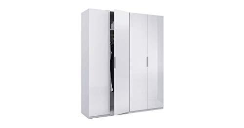 Habitdesign MAX054BO - Armario 4 puertas, color Blanco Brillo, medidas 200 x 180 x 52 cm de fondo