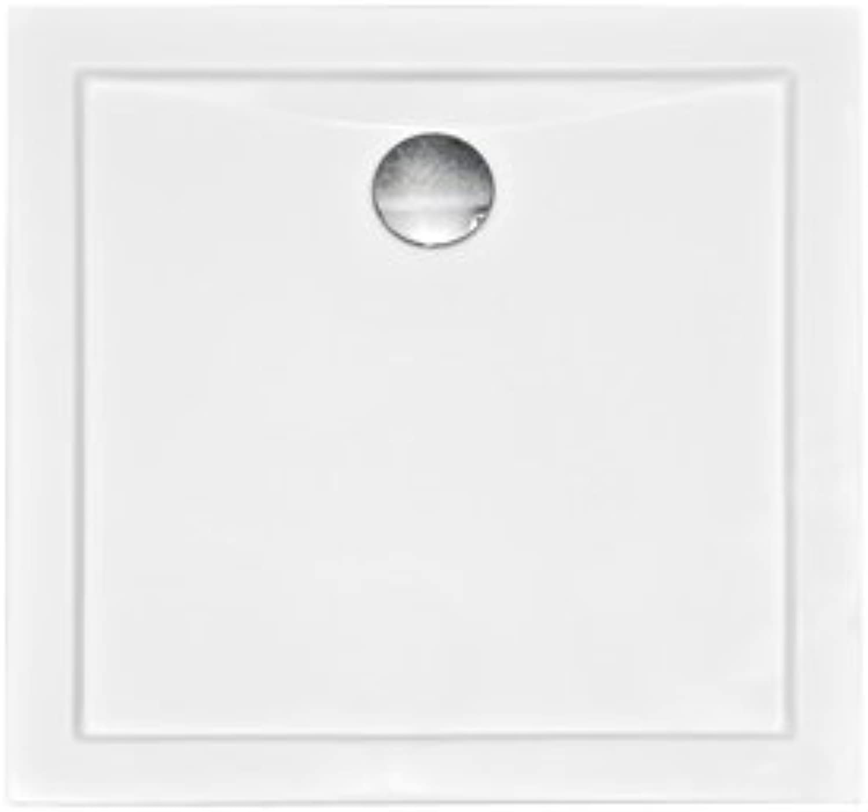 Duschwanne Duschtasse Quadrat 80 x 80 cm Acryl Duschtasse Flach Ablauf Viega V90 Tempoplex AQUARIUS wei glatt