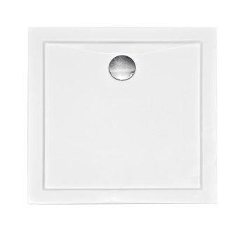 VBChome Duschwanne Duschtasse Quadrat 90 x 90 cm Acryl Duschtasse Flach Ablauf Viega V90 Tempoplex AQUARIUS weiß glatt