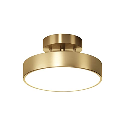 SDFDSSR Lámpara de Techo LED con luz de Pasillo Totalmente de Cobre Lámpara de Techo de Porche de Pasillo Redondo Temperatura de Tres Colores en una luz de Cabeza móvil 3000K ~ 6500K ángulo Ajustable