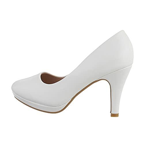 Ital Design Damenschuhe Pumps High Heel Pumps, Q768-, Kunstleder, Weiß, Gr. 36