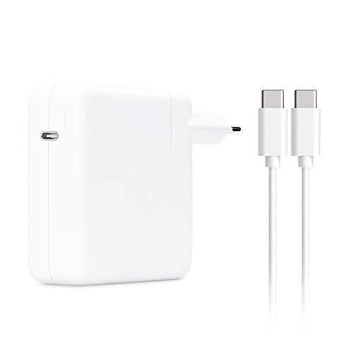 Adaptador de corriente USB C 87 W compatible con MacBook de 12 pulgadas, MacBook Air (Retina, 13 pulgadas, 2018 y más recientes) MacBook Pro (13 15 pulgadas, 2016 y más reciente) (6,6 ft / de cable)