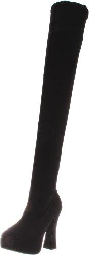 Pleaser Women's Electra-3000/B/LYR Above-the-Knee Boot,Black Lycra,10 M US