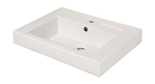 'aquaSu® Waschtisch eckig linHa, 60 cm Breite, Weiß, eckiges Waschbecken für Wandmontage, modern mit Überlauf