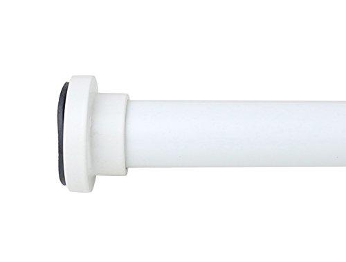 Meriville Varilla de tensión de resorte de metal de 2,54 cm de diámetro, longitud ajustable de 76,24 cm a 132,1 cm, color blanco roto