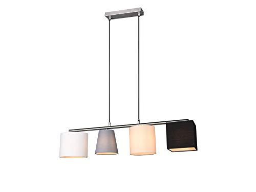 Moderne led-hanglamp, meerdere vlammen, met verschillende stoffen kappen in vier kleuren