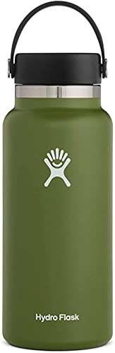 Hydro Flask Water Bottle - Stainless Steel & Vacuum Insulated - Wide Mouth 2.0 with Leak Proof Flex Cap - 40 oz, Olive