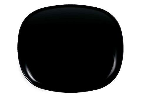 6x Evolutions Teller | Speiseteller | Essteller | Menüteller, schwarz glänzend | 23x28cm