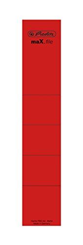 Herlitz 11000445 Rückenschild 36 x 190 mm, selbstklebend, 10 Stück im Polybeutel, rot