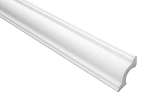 Zierleiste E-28 | leicht und stabil | extrudiertes Styropor | Stuckprofil | Decken-/ und Wandübergang | modern weiß | dekorativ | XPS | 31 x 31 mm | 2 Meter