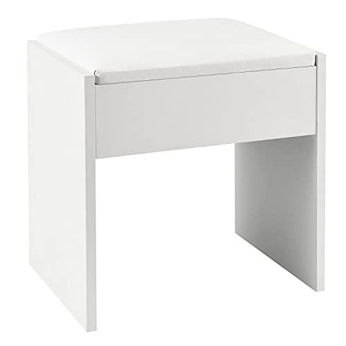 Juskys Schminktisch Hocker Melly – Sitzhocker aus Holz mit gepolstertem Kissen & Bezug aus Kunstleder – moderner Polsterhocker 40 x 30 x 43 cm in Weiß