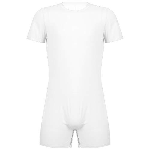 CHICTRY Herren Body Kurz Dessous mit Zip Unterwäsche Kurzarm Sport Shirt Overalls Fitness Training Sportbody Männer Bodysuit Funktionsshirt Weiß mit Knöpfen XXL