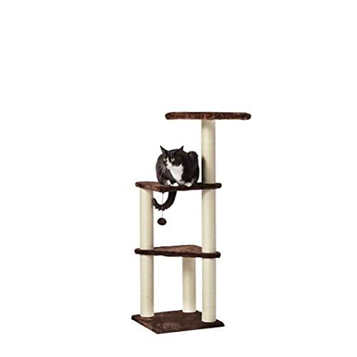 Amazon Basics - Albero per gatti a tre livelli, con torre, 40,6 x 40,6 x 118 cm, marrone