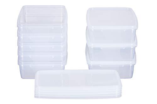 MiraHome Frischhaltedose Gefrierbehälter 1l rechteckig flach 21x14x5,5cm 8er Set transparent Austrian Quality