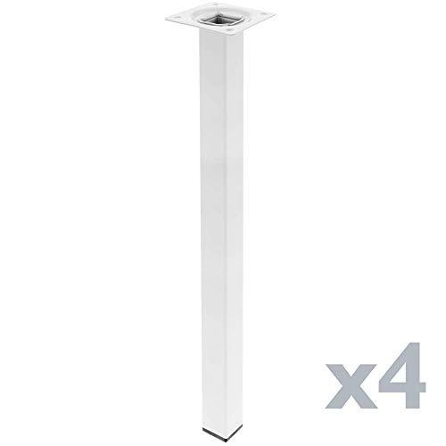 PrimeMatik - Quadrat Tischbeine für Schreibtische Schränke Möbel aus Weiss Stahl 75cm 4-Pack