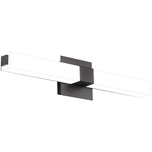 ZUZITO 24.2in Modern LED Vanity Light Fixtures for Bathroom Black Lighting Acrylic Cool White 6000K