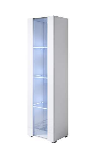 muebles bonitos Vitrina Modelo Luke V5 (40x167cm) Color Blanco con Patas estándar