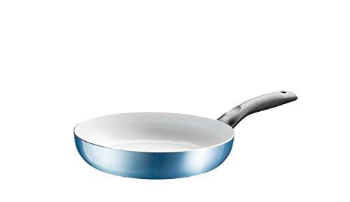 Domestic TOP Selection by Mäser Serie Miram, Bratpfanne 24 cm, antihaftbeschichtet, mit weißer ILAG-Ceramic-Beschichtung, in der Farbe Blau-Metallic, Aluminium