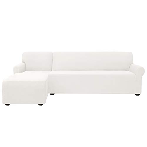 subrtex Funda Sofa Chaise Longue Brazo Izquierdo Elastica Protector para Sofa Chaise Longue Antimanchas Ajustable (Blanco)