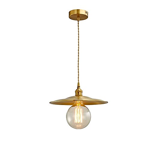 Kioiien Lámpara de techo Candelabros Lámpara colgante de cobre puro de oro moderno Sombrero simple de paja simple colgante Luz de colgante Lámpara de techo Retro Loft Lámpara de techo para el país Res
