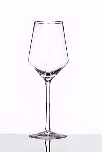 Copas de vino tinto hechas a mano / 400ml Crystal Clear Glass-Leave Titanium libre de plomo para el aniversario de cumpleaños o regalos de boda (Tamaño: Juego de 2) / Código de productos básicos: LQQ-