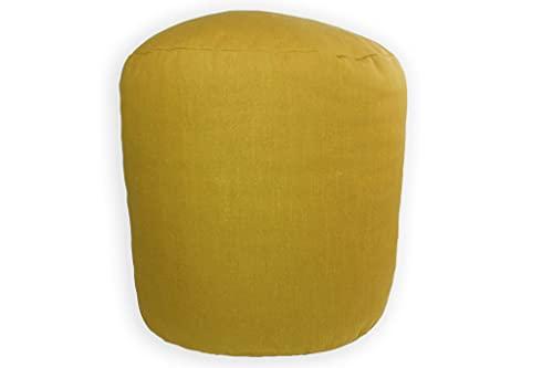 Taburete Redondo, Puff Bajo Acolchado, Resistente y Cómodo. Silla Reposapiés Elástica. Asiento Decorativo para Interior y Exterior. (Mostaza, Tela)