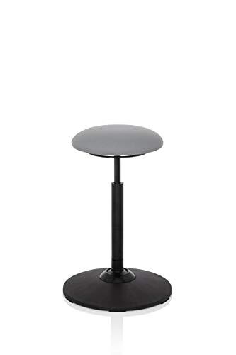 hjh OFFICE 608915 taburete de trabajo BALANCE SIT tela gris silla de equilibrio ergonómica ajustable