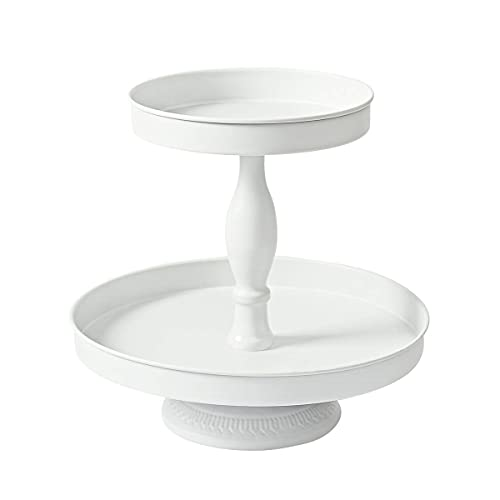 Donosura Cupcake Stand for 24 Cupcakes, Wedding Cake Stands 2 Tier White Cupcake Tower Tiered Serving Trays Mental Dessert Plates for Tea Party Wedding Birthday