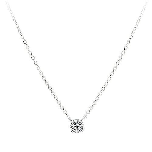 YHHZW Collar Collar De Cadena Ajustable De Plata De Ley 925 para Mujeres, Parejas, Cuentas Redondas De Cristal, Joyería Elegante para Novia, 5 Mm