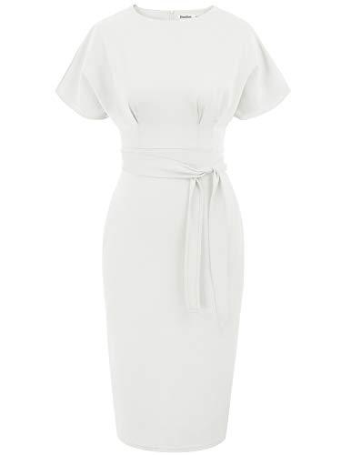 JASAMBAC White Work Dresses for Women Summer Short Sleeve Bodycon Pencil Dress with Belt White XL