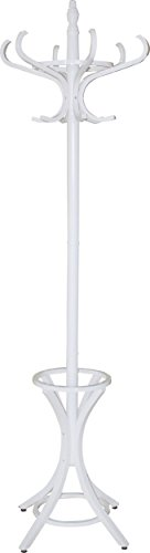 Headbourne 8001 Floor Standing Hat and Coat Rack with Umbrella Stand, Wood with White Paint Finish