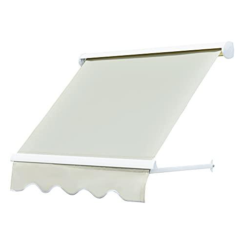 Outsunny Alu Markise Balkonmarkise Klemmmarkise Fallarmmarkise Fenster Sonnenschutz Beige 120 x 70 cm