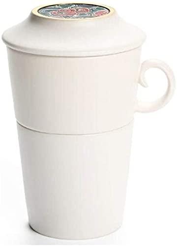 ZRB Juego de Platos, Tetera de té de té de cerámica Taza con Tapa Copa de pasajeros rápida Creativa, Taza de Filtro de cerámica Japonesa, Taza de Oficina Simple Pintada a Mano