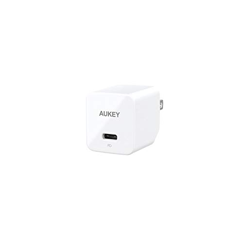 iPhone Fast Charger AUKEY USB C Charger 18W PD Charger Foldable Plug USB C Wall Charger for iPhone 11 Pro Max AirPods Pro iPad Pro, Samsung Galaxy S10 Note 9, Google Pixel 4 3 2 XL, LG, Huawei - White