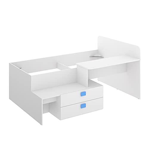 Cama Juvenil de diseño Moderno Chic Tablero de partículas melaminizado Color Blanco 195x134x95 cm (Blanco/Azul)