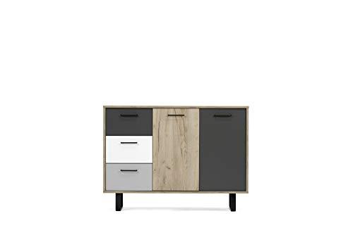 Kommode - Farbmix (B/H/T: 120 x 88 x 35 cm) 2 Türen, 3 Schubladen | pulverbeschichtete Metallgriffe & Kufenfüße