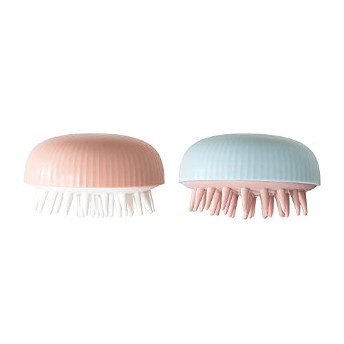 MARMODAY Champú masajeador cepillo para la eliminación de la caspa impermeable ducha cuero cabelludo depurador herramienta cerdas de silicona 2 piezas azul rosa