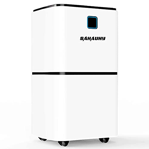 SAHAUHY 1500 Sq.Ft Portable Dehumidifier for Home Basements Bedroom Garage with Continuous Drain Hose,0.52 Gallon Water Tank and Wheel