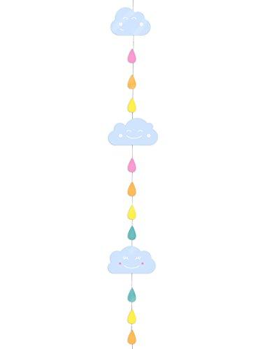 Party Pro 81278 Guirlande Nuage/Gouttes, Papier, Multicolore, 160 x 8 x 0,1 cm