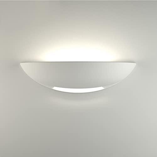 AOMEX applique lampada da parete bianca pitturabile alta qualità E27 led moderna mezza luna gesso bianca per interni(Non include lampadine E27)