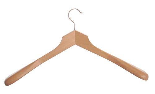 Hagspiel Lot de 5 cintres en bois laqué naturel avec épaules extra larges, 50 cm, taille spéciale
