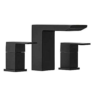 BESy 3 Holes Two Handles Lavatory Vanity Sink Widespread 8 Inch Matte Black Bathroom Faucet, Bathroom Sink Faucet with Hoses, Matte Black Finish